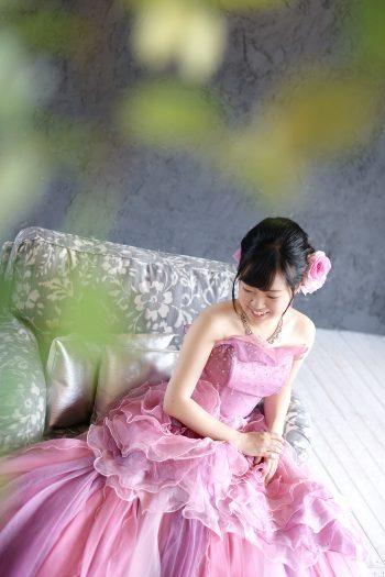 紫ドレス 成人式 洋装
