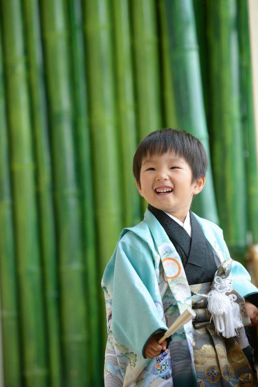3歳男の子 七五三 緑色 着物