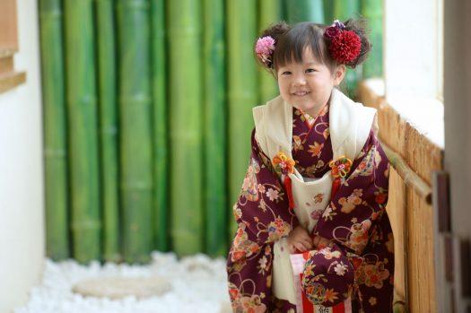 3歳女の子 紫色 着物 七五三」