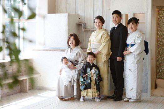 七五三 家族写真 全員着物 訪問着