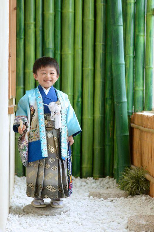 3歳男の子 七五三 水色 着物