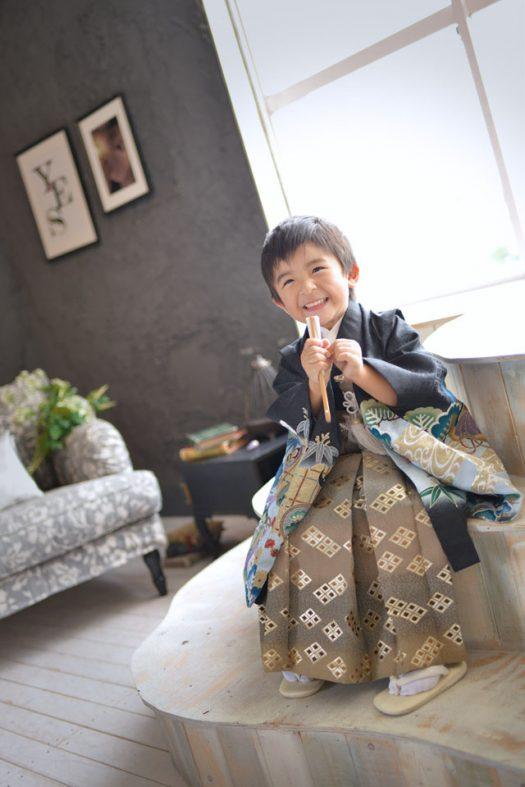 七五三 5歳 男の子 黒い着物
