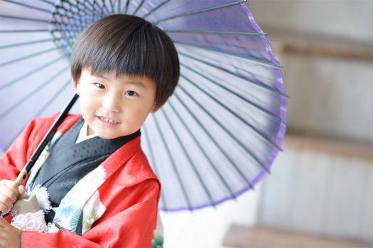 七五三 5歳男の子 赤い着物