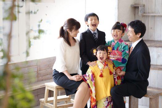七五三 家族撮影 3歳女の子 7歳女の子