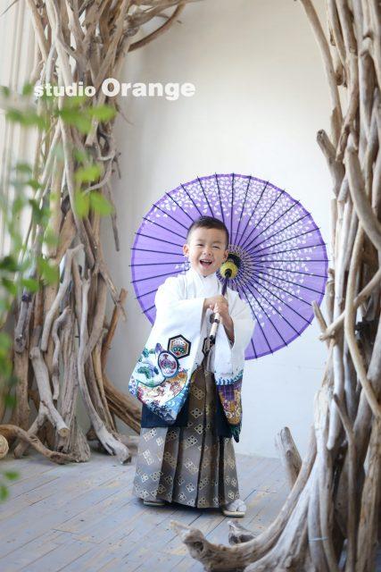 白い着物 紫の傘 5歳男の子