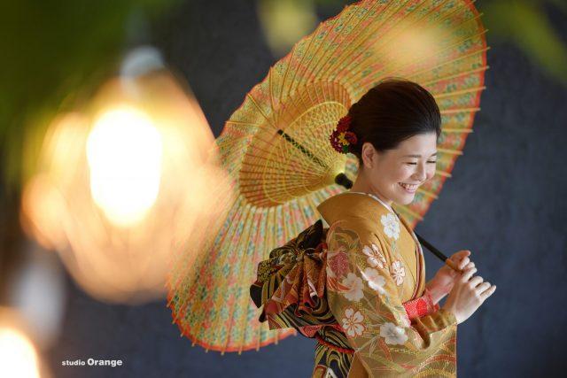 黄色着物 成人式 前撮り スタジオオレンジ 奈良市
