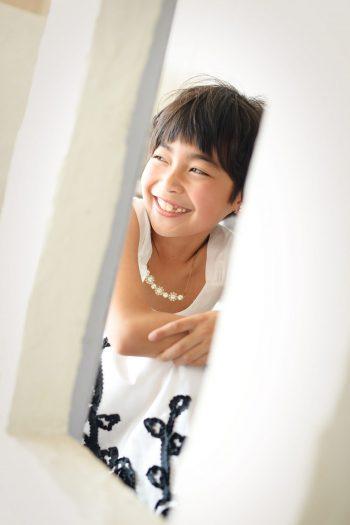 7歳女の子 ドレス撮影 モノトーン 七五三