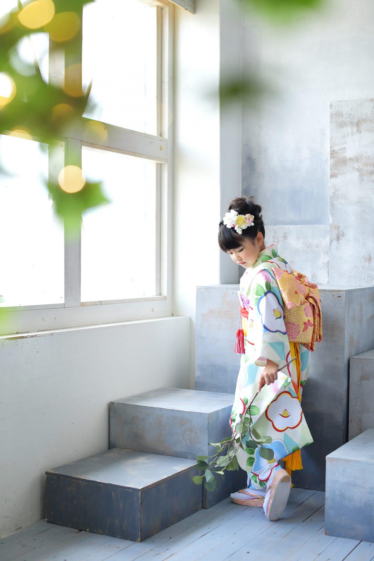 7歳女の子 水色の着物