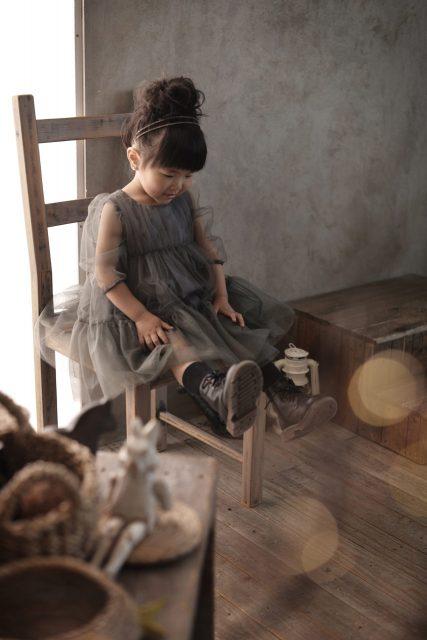 グレーのドレス 3歳女の子 七五三