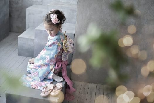 7歳女の子 水色の着物 七五三
