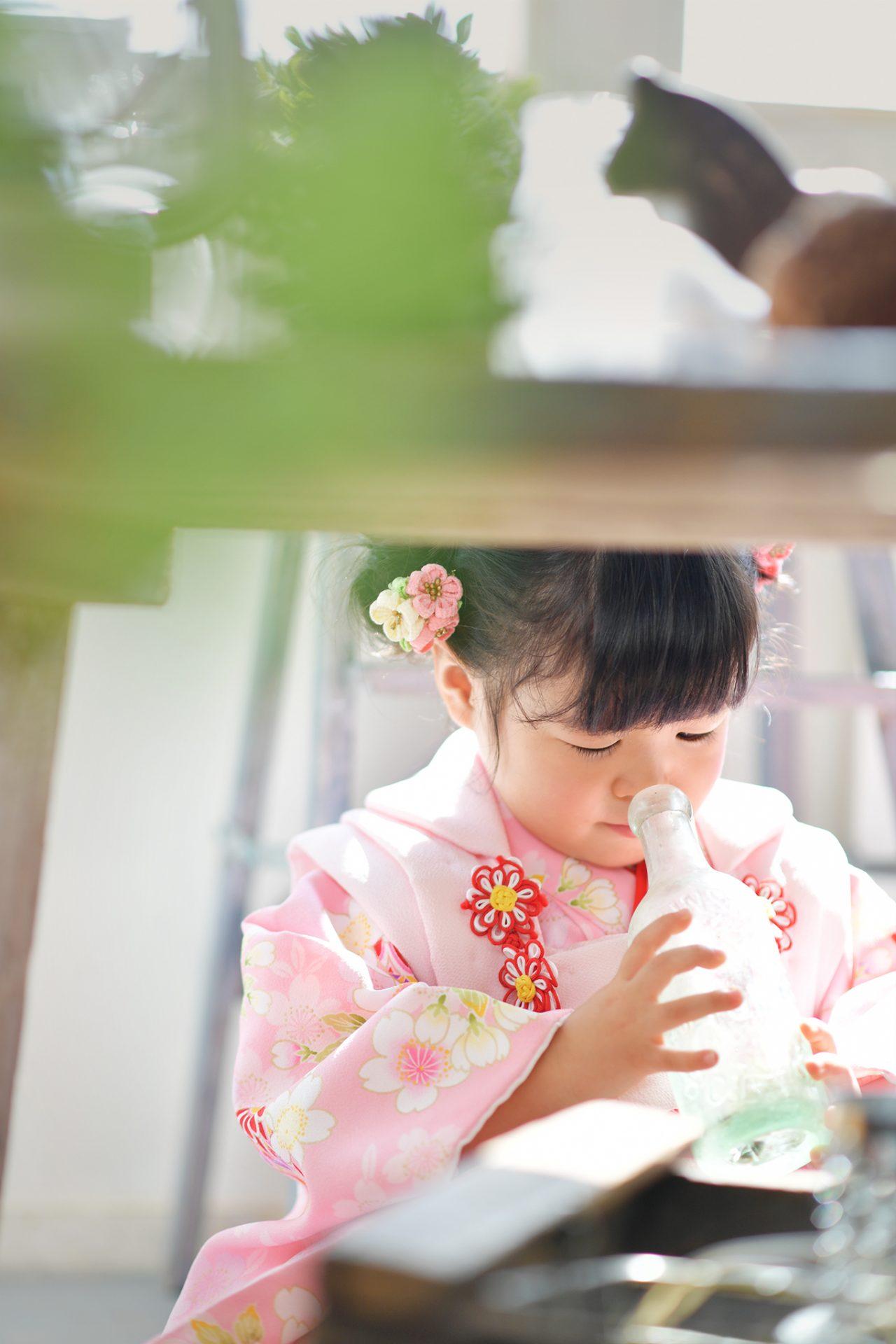 3歳女の子 七五三 ピンクの着物