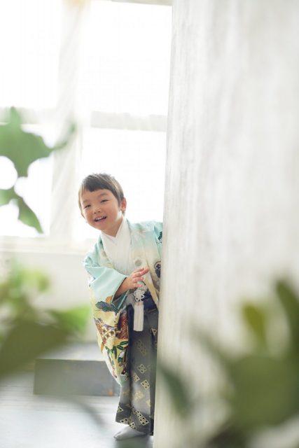 3歳男の子 七五三 水色の着物