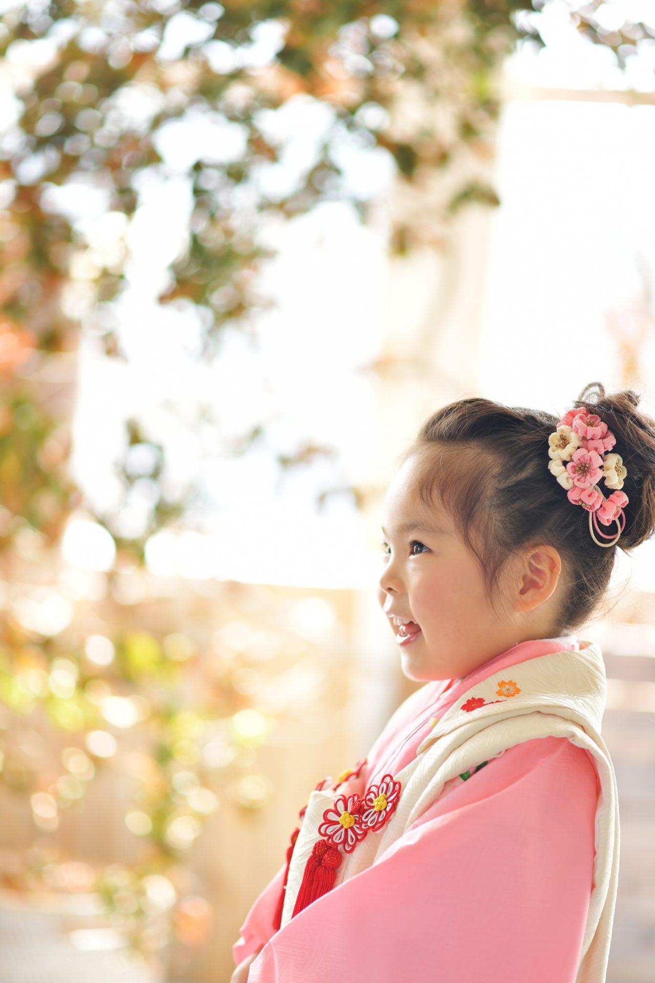 3歳女の子 ピンクの着物 七五三