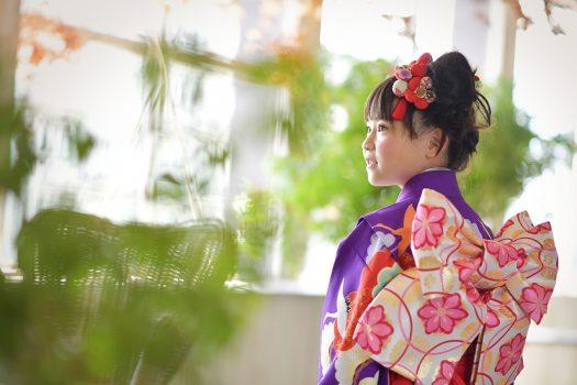 七五三 7歳女の子 紫色の着物