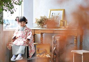 七五三 3歳女の子 桜の柄
