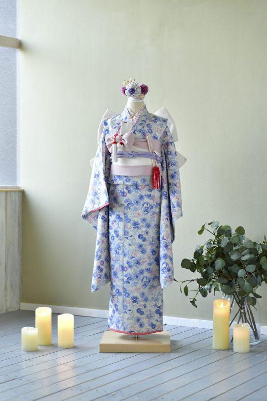 青い着物 スタジオ衣装 7歳女の子 帯