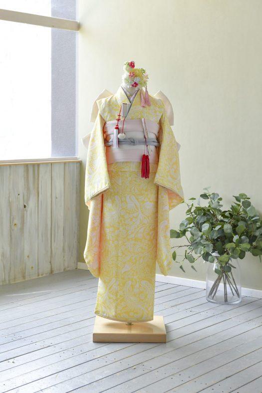 黄色着物 スタジオ衣装 7歳女の子 帯