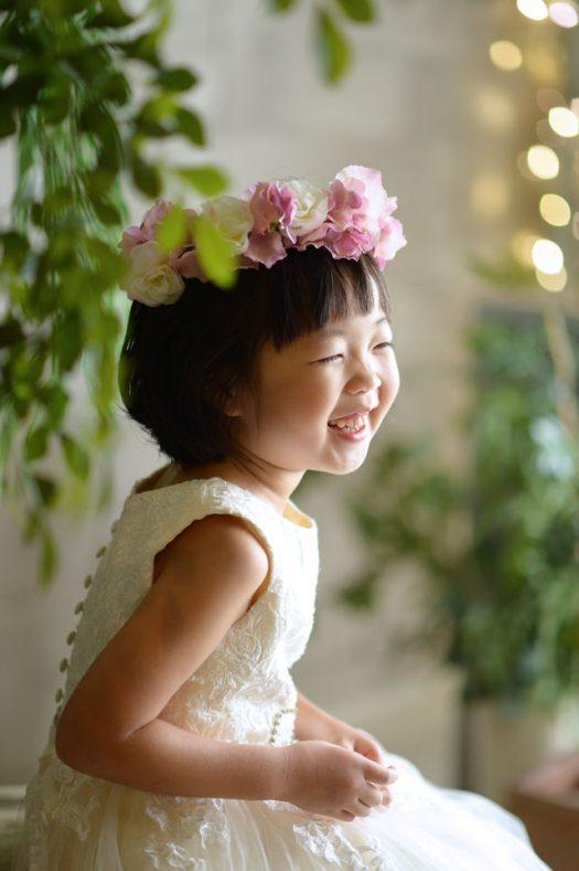 7歳 女の子 お誕生日撮影 白いドレス