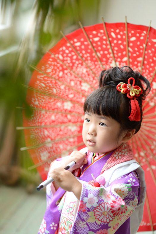 3歳女の子 七五三 傘 紫の着物