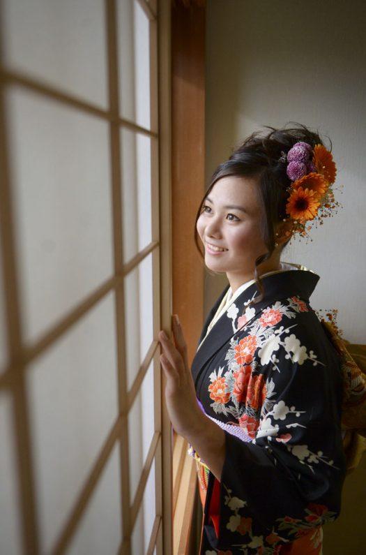 成人式当日 生花の髪飾り