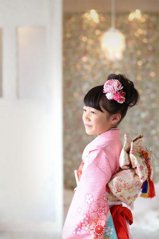 七五三 ピンク しぼりの着物