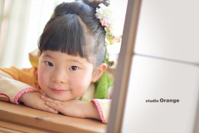 七五三 黄緑の着物 7歳女の子 奈良市