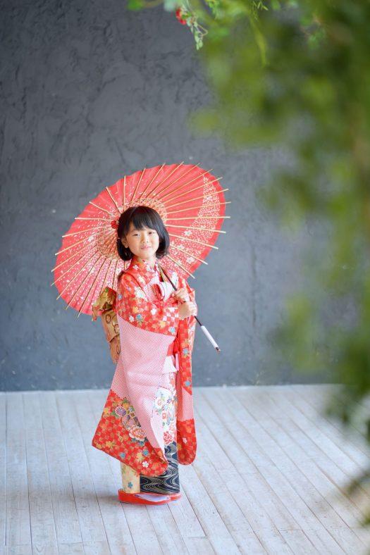 奈良市 七五三 和傘