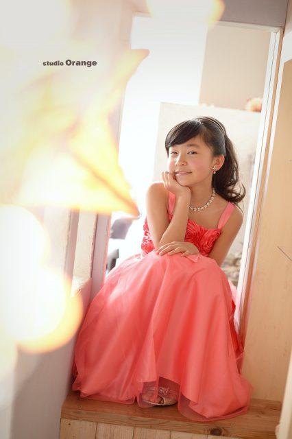 10歳女の子 ピンクのドレス 十歳記念 奈良市 スタジオオレンジ