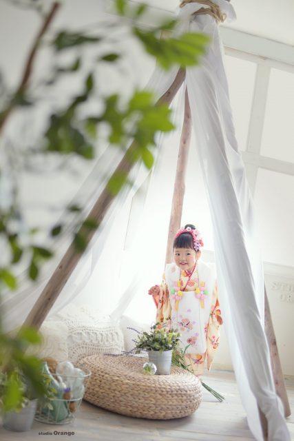 奈良市 精華町 スタジオオレンジ 帝塚山 木津川市 七五三 黄色い着物 テント