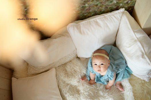 奈良市 スタジオオレンジ ハーフバースデー 6ヶ月 女の子 水色のドレス 星の髪飾り