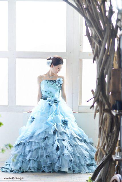 ドレス 水色ドレス 成人式 前撮り スタジオオレンジ 奈良市