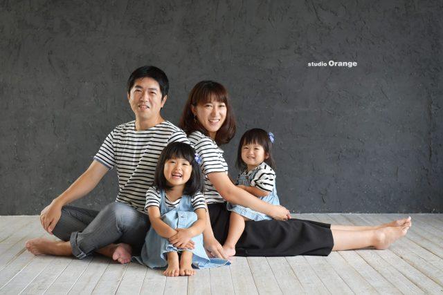 家族写真 女の子 誕生日記念 お揃い カジュアル ファミリー ボーダー