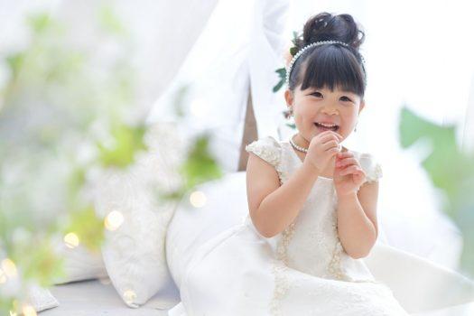 お誕生日撮影 奈良市 スタジオオレンジ 白いドレス