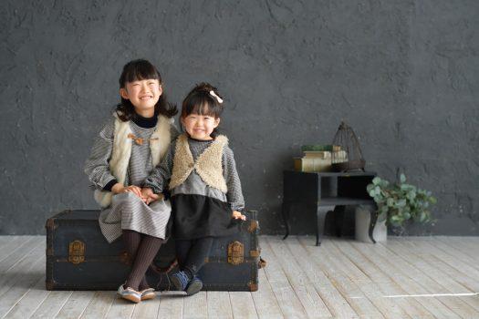 お誕生日撮影 奈良市 スタジオオレンジ リンクコーデ 私服 姉妹撮影