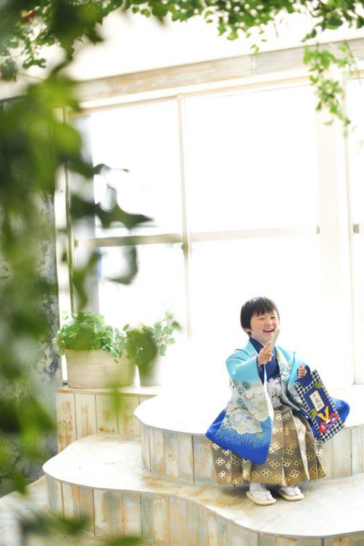 奈良市 生駒市 帝塚山 富雄 木津川市 精華町 スタジオレンジ 七五三 水色の着物 3歳男の子
