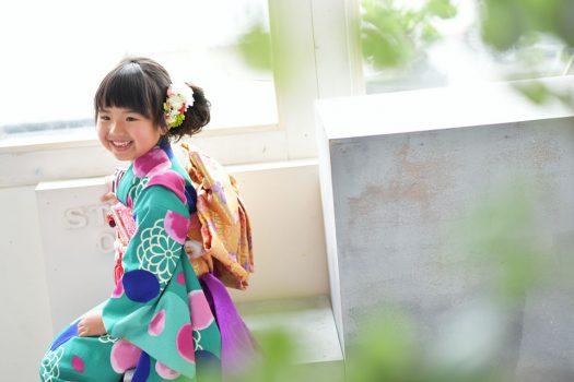 奈良市 生駒市 帝塚山 富雄 木津川市 精華町 スタジオレンジ 七五三 7歳女の子 着物 緑の着物
