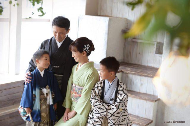 七五三 家族撮影 全員着物 訪問着
