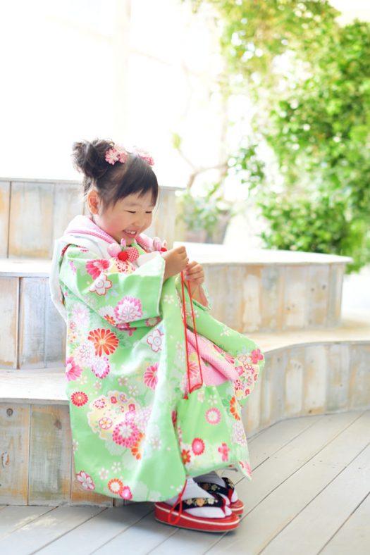 奈良市 生駒市 帝塚山 富雄 木津川市 精華町 スタジオレンジ 七五三 3歳女の子 黄緑の着物