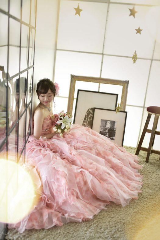 奈良市 生駒市 帝塚山 富雄 木津川市 精華町 スタジオレンジ ピンクのドレス 成人式前撮り