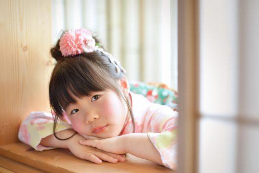 奈良市 生駒市 帝塚山 富雄 木津川市 精華町 スタジオレンジ 7歳女の子 七五三 ピンクの着物 緑の帯