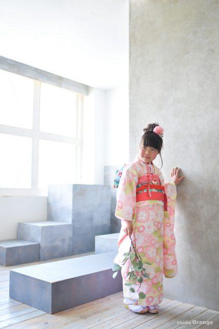 奈良市 生駒市 帝塚山 富雄 木津川市 精華町 スタジオレンジ 七五三 ピンクの着物 桜 緑の帯