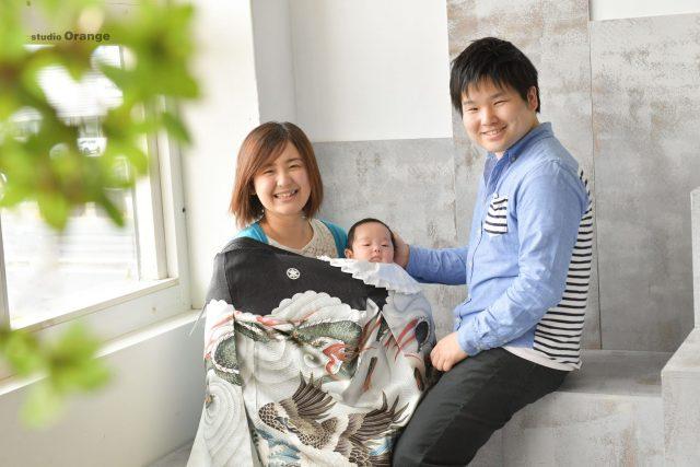 お宮参り 男の子 家族撮影 私服 カジュアル 奈良市 フォトスタジオ ハウススタジオ