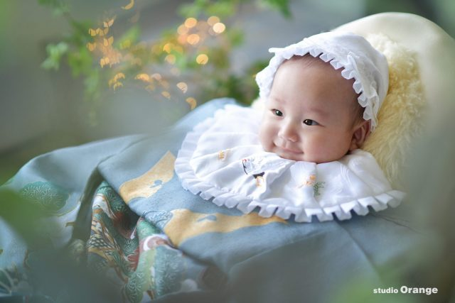 お宮参り 3ヶ月男の子 グレーの着物