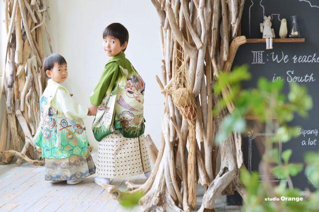 七五三 兄弟 着物 3歳 5歳 スタジオオレンジ 奈良 写真館