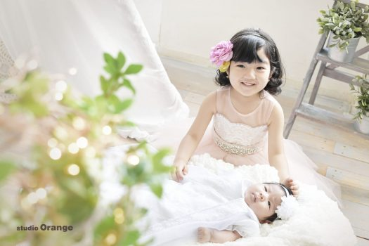 お宮参り 奈良市 写真館 スタジオオレンジ 兄弟撮影 ドレス