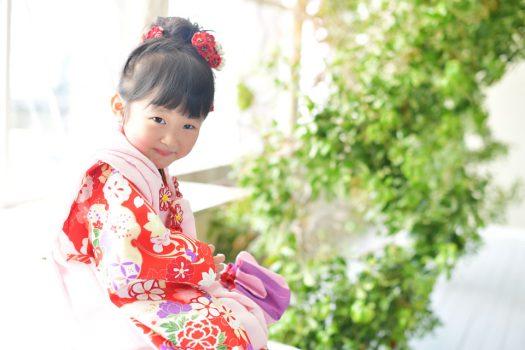 七五三 3歳女の子 赤い着物