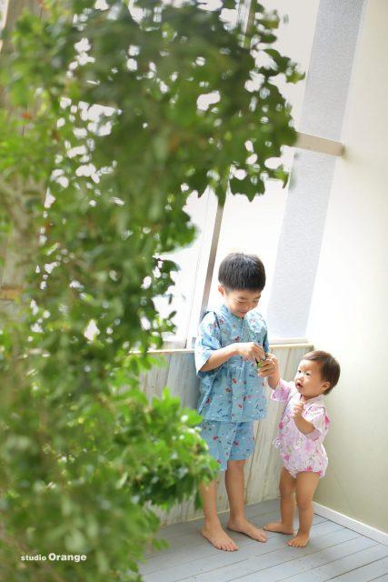 バースデーフォト 兄妹撮影 甚平 お誕生日撮影