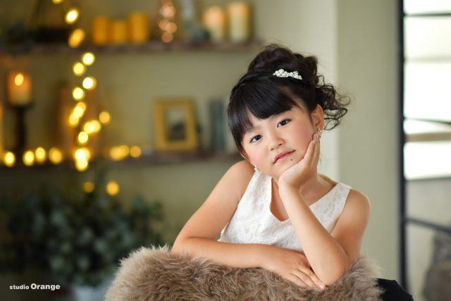 七五三 7歳女の子 白いドレス