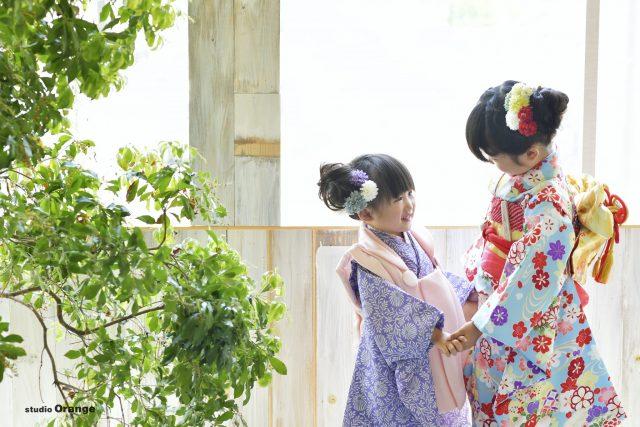 紫着物 3歳 7歳 女の子 姉妹撮影