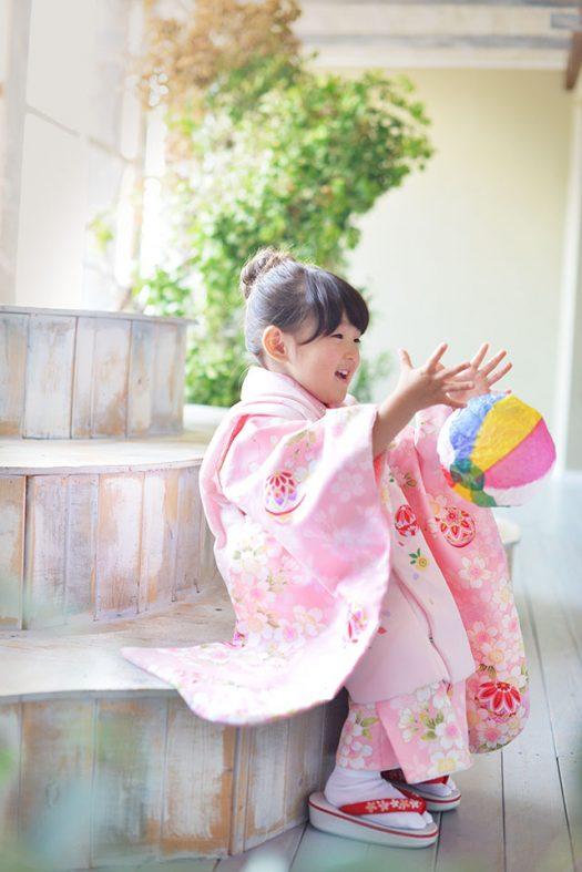 七五三 女の子 3才 ピンク 着物